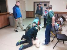 Dan teaching CPR to Boy Scouts