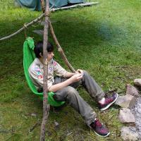 "Zack on ""camp gadget"" tripod-towel chair"