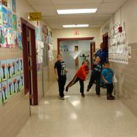 Paper airplanes flying at Cub Scout meeting on Oct. 11, 2017