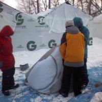 Striking the tents.